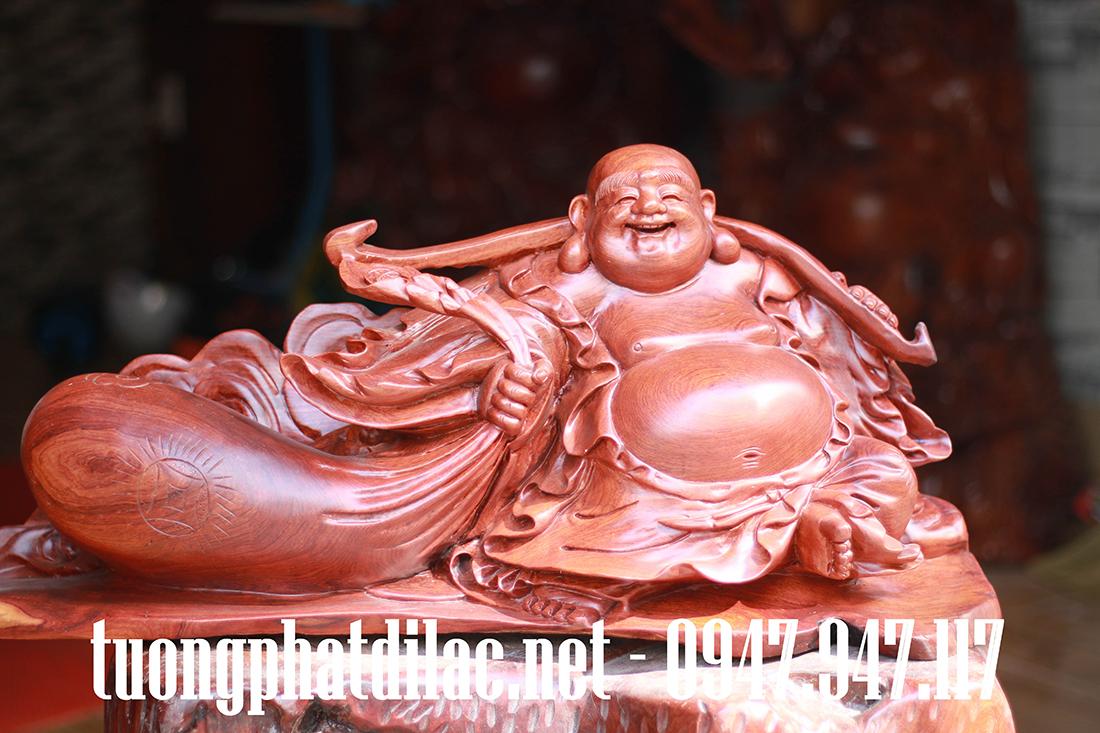 Phật di lặc gỗ Hương Gia Lai nguyên khối không chắp ghép